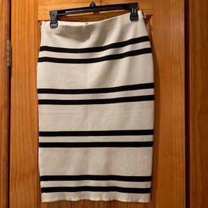 Black & White Striped Cameo Pencil Skirt